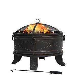 26 in. Steel Round Fire Pit with Fire Poker and Mesh Cover, Bronze photo