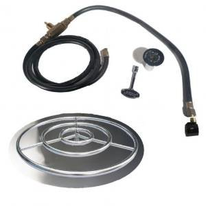 36″ SS Fire Pit Ring Burner Kit with Pan Connection Kit – Natural Gas photo