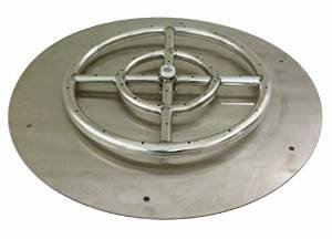 American Fireglass Round Stainless Steel Flat Fire Pit Burner Pan, 30-Inch photo