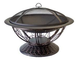 AZ Patio Heaters Fire Pit with Scroll Design, Wood Burning photo
