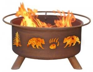 Bear and Tree Fire Pit with Grill and FREE Cover photo