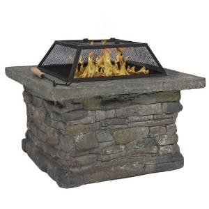 Best Choice Products® Elegant 29″ Outdoor Patio Firepit w/ Iron Fire Bowl, Stone Base, & Mesh Cover photo