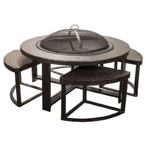 Bronze Cast Aluminum Fire Pit with 4 Chairs photo