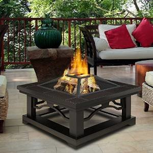 Brown Tile Outdoor Wood Burning Fire Pit | Enjoy a Bonfire in the Comfort of Your Backyard! Comes Complete with… photo