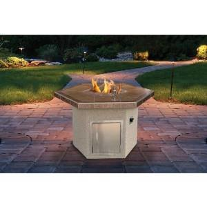 Cal Flame 48-inch Dining Height Outdoor Natural Gas Hexagon Firepit photo