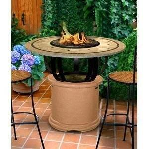 California Outdoor Concepts 2030-AD-PG11-LAG-48 Del Mar Bar Height Fire Pit-Adobe-Copper Reflective Glass-Laguna…