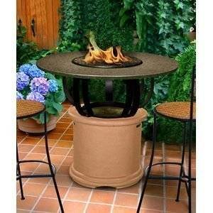 California Outdoor Concepts 2030-AD-PG11-SEA-54 Del Mar Bar Height Fire Pit-Adobe-Copper Reflective Glass-Sea… photo