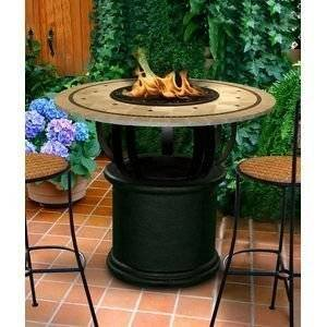 California Outdoor Concepts 2030-BK-PG11-LAG-48 Del Mar Bar Height Fire Pit-Black-Copper Reflective Glass-Laguna… photo