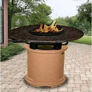 California Outdoor Concepts 2050-AD-PG11-BM-42 Del Mar Balcony Height Fire Pit-Adobe-Copper Reflective Glass-Black… photo