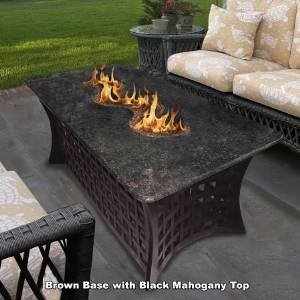 California Outdoor Concepts 4040-BR-PG11-BM La Costa Del Rio Fire Pit-Brown-Copper Reflective Glass-Black Mahogany