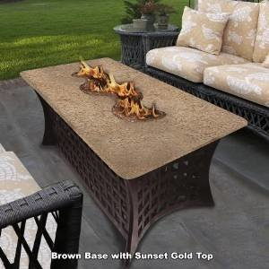 California Outdoor Concepts 4040-BR-PG11-SUN La Costa Del Rio Fire Pit-Brown-Copper Reflective Glass-Sunset Gold photo