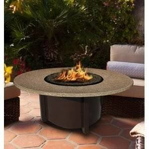 California Outdoor Concepts 5010-BR-PG3-SUN-42 Carmel Chat Height Fire Pit-Brown-Copper Glass-Sunset Gold – 42… photo