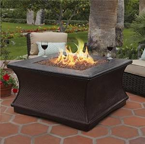 California Outdoor Concepts 7110-BR-PG3-N-A Monterey Chat Height Fire Pit-Brown-Copper Glass-Without Granite photo