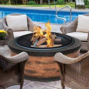Cast Stone Fire Pit Color: Rustic Wood photo