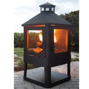 Crosley Outdoor Villa Fireplace (Black) (45.5″H x 21.75″W x 21.75″D) photo