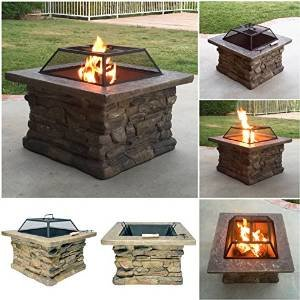 Fire Realm Elegant 29″ Outdoor Patio Firepit w/ Iron Bowl, Stone Base, Mesh, Pit