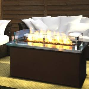 Firegear Key West Natural Gas Fire Pit Coffee Table With Stainless Steel Top photo