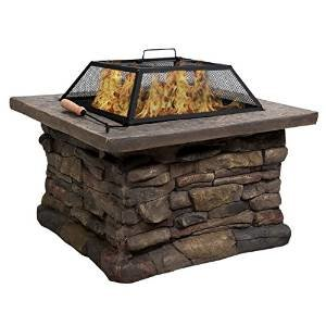 Giantex 29″ Outdoor Patio Firepit w/ Matte Steel Fire Bowl, Stone Base, Spark Screen photo