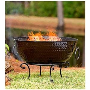 Hammered Metal Fire Bowl, 32″ dia. x 18″H