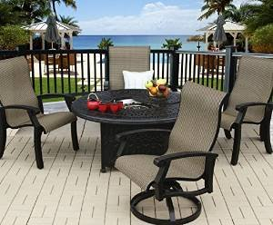 Heritage Outdoor Living Cast Aluminum Barbados Sling Outdoor Patio 5pc Fire Pit Set with 52″ Round Fire Pit -… photo