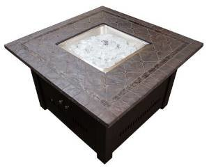 Hiland Fire Pit Square with Slate Table, Large photo