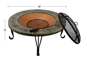 HIO 36-Inch Wood Burning Slate & Marble Top Fire Pit with Copper Accents Cover Included For Backyard And Patio photo
