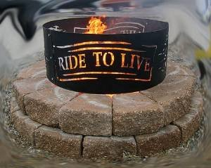 live to ride metal fire ring u0027vtwin man cave made in the usa harley motorcycle - Fire Rings