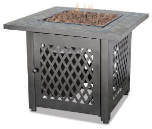 LP Gas Outdoor Firebowl with Slate Tile Mantel photo