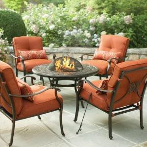 Martha Stewart Living Cold Spring 5-Piece Patio Fire Pit Set with Burnt Orange Cushions photo