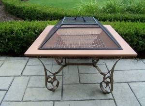 Oakland Living Victoria 33-Inch Fire Pit with Grill and Copper Bowl photo