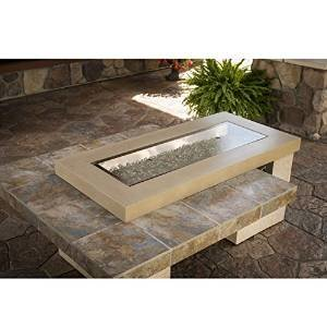 Outdoor Great Room Uptown Crystal Fire Pit Table with Tile Top and Rectangular Burner, Brown photo