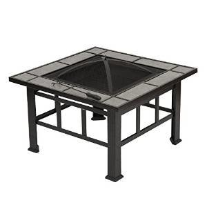 Outsunny Outdoor Mission Style Square Backyard Patio Fire Pit, 33-Inch photo