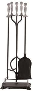 Panacea 15008 Fireplace Toolset with Nickel Handles Rods, Black, Pack of 5 photo