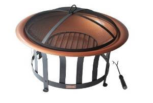 Panama Jack Round Copper Plated Fire Pit with Metal Base, 30-Inch, Black Finish photo