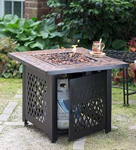 Propane Gas Fire Pit With Tile Mantel photo