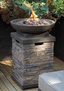 Realistic Stone-like Outdoor Patio Fire Pit Bowl with Free Cover. Get Ready for Entertainment in Your Backyard… photo
