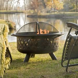 Red Ember Bronze Crossweave Firebowl Fire Pit with FREE Grill Grate and Cover – LR32-CGG photo