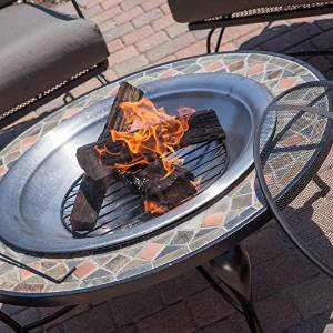Red Ember Cascade Slate Mosaic Fire Pit with FREE Cover- Copper Accents and Stainless Steel Bowl photo