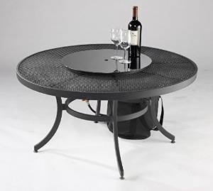 Round Nightfire Crystal Fire Pit Table with Mesh Top photo