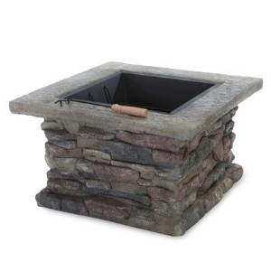 Seymour Natural Stone Square Fire Pit photo
