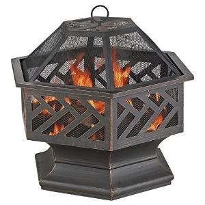 Uniflame 24 in. Hexagon Wood Burning Fire Pit