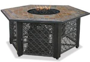 Uniflame GAD1374SP Lp Gas Outdoor Firebowl with Slate Tile Mantel photo