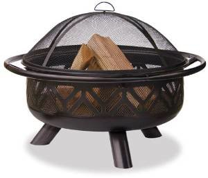 Uniflame Oil Rubbed Outdoor Firebowl with Geometric Design photo