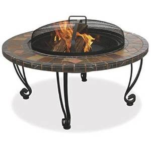 UniFlame Outdoor Fire Pit with Slate Mantel and Copper Accents photo