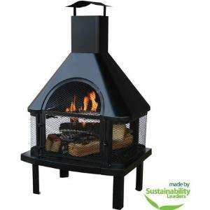 Uniflame Outdoor Wood Burning Fire Place, Black photo