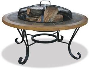 Uniflame WAD1358SP Slate Tile/Faux Wood Outdoor Firebowl photo