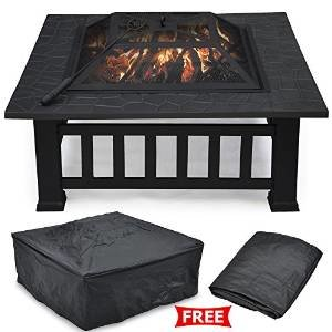 Yaheetech Outdoor 32″ Outdoor Metal Firepit Backyard Patio Garden Square Stove Fire Pit W/cover photo