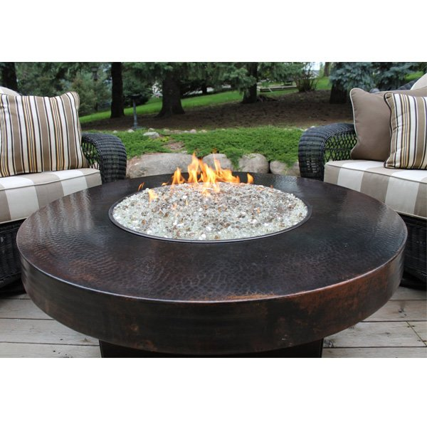 Hammered Copper 42″ Round Oriflamme Fire Table Gas Fire Pit Table photo