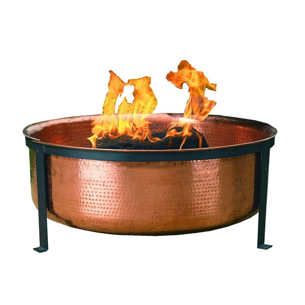 CobraCo Hand Hammered 100% Copper Fire Pit with Screen & Cover photo