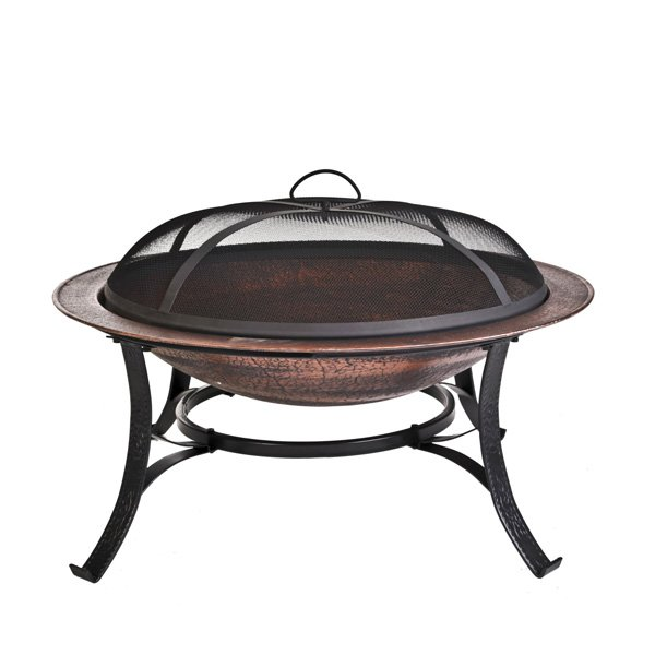 CobraCo 30 inch Round Cast Iron Copper Finish Fire Pit with Screen and Cover photo